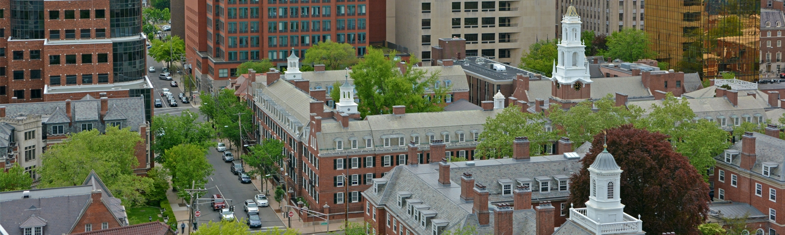 A stock photo of New Haven, including Dow Hall and the adjacent Timothy Dwight College.