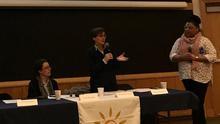 Claire and Raffaella at the panel